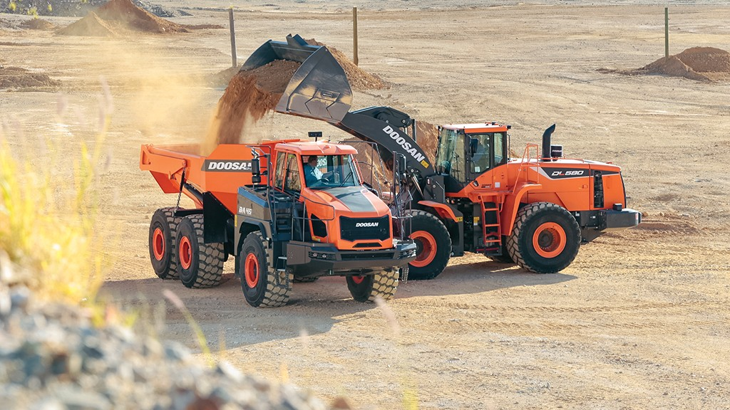 two doosan machines working in tandem