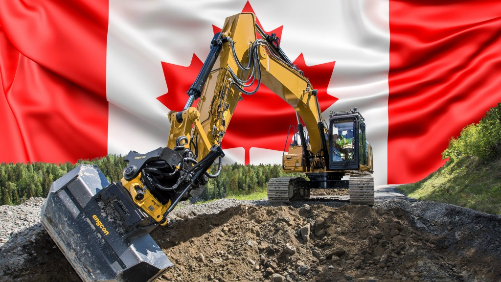 Engcon Canada with Canadian flag behind a machine