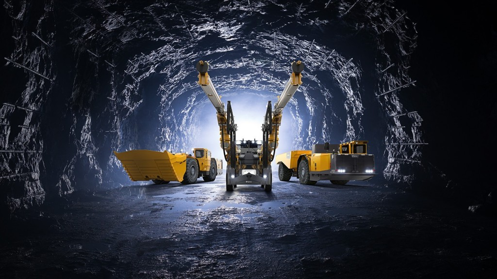 inside a tunnel with an Epiroc machine