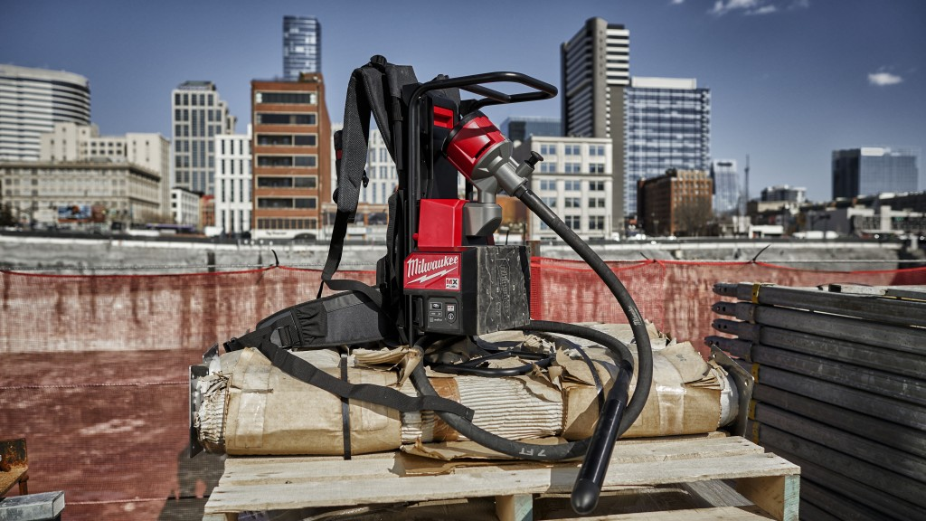 the MX FUEL™ Backpack Concrete Vibrator on a pallet