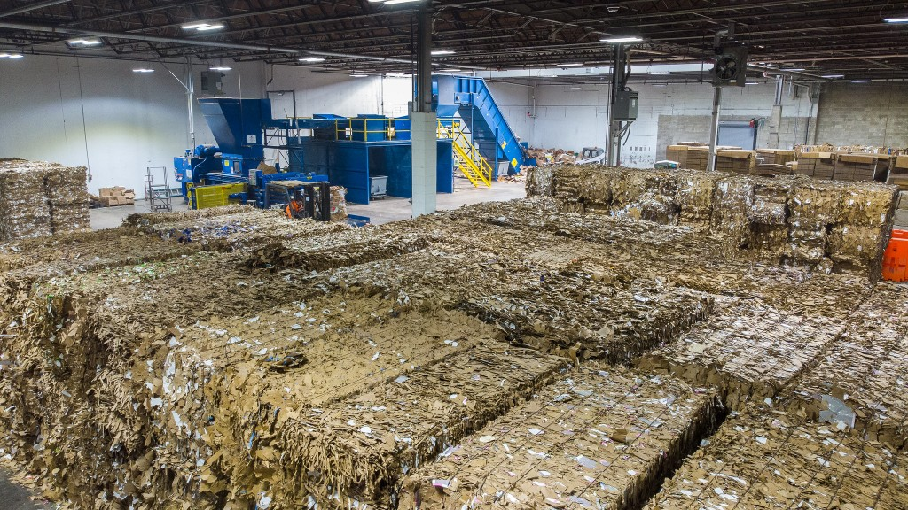 bales of recycling material in a warehouse