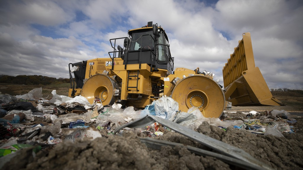 The 816 Cat landfill compactor in a landfill