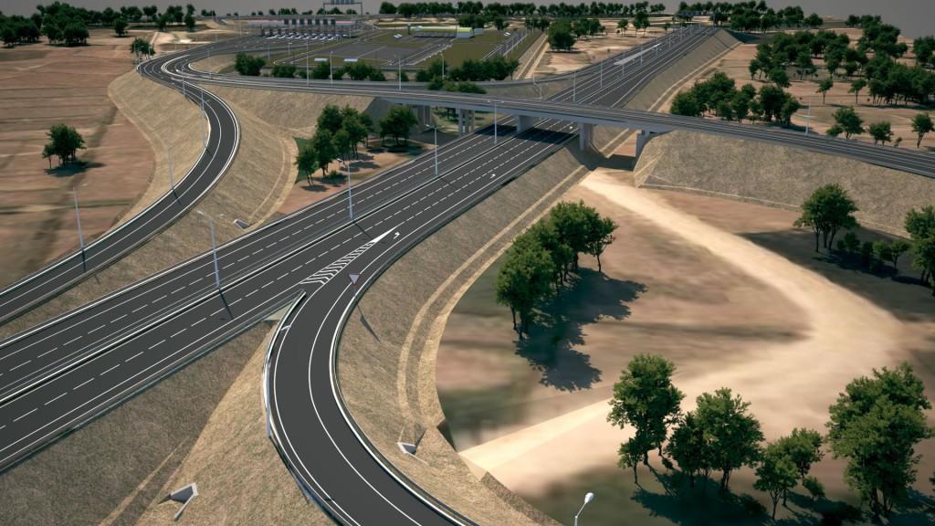 interweaving highways in a desert landscape