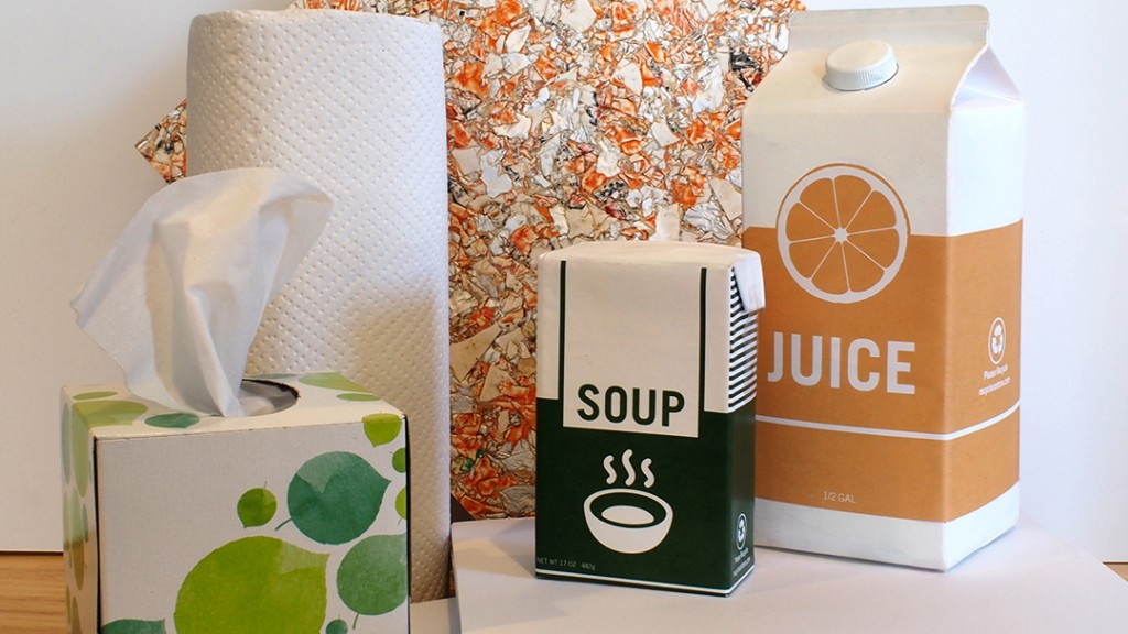 Cartons for recycling on a counter