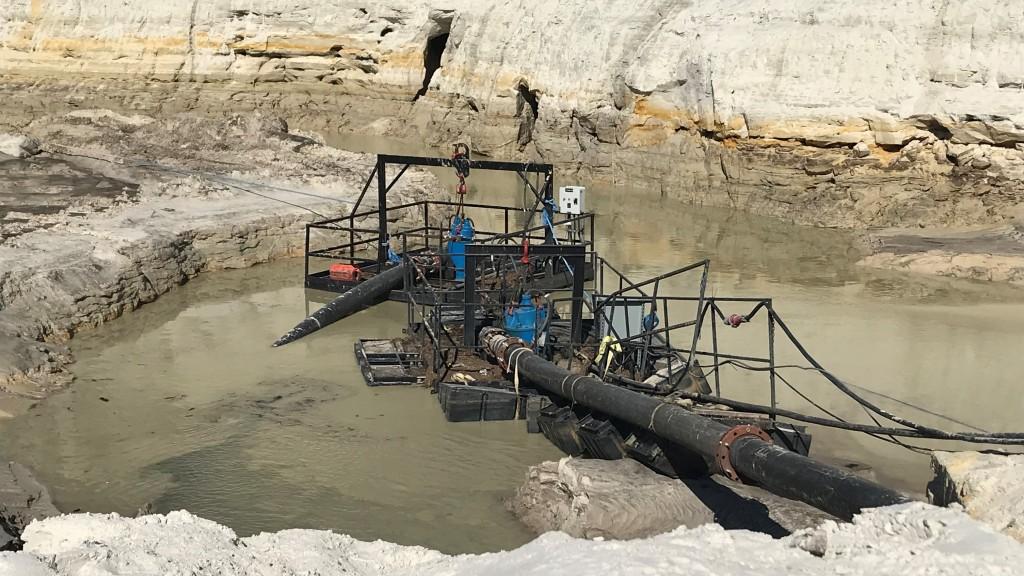 slurry pump at work in a quarry
