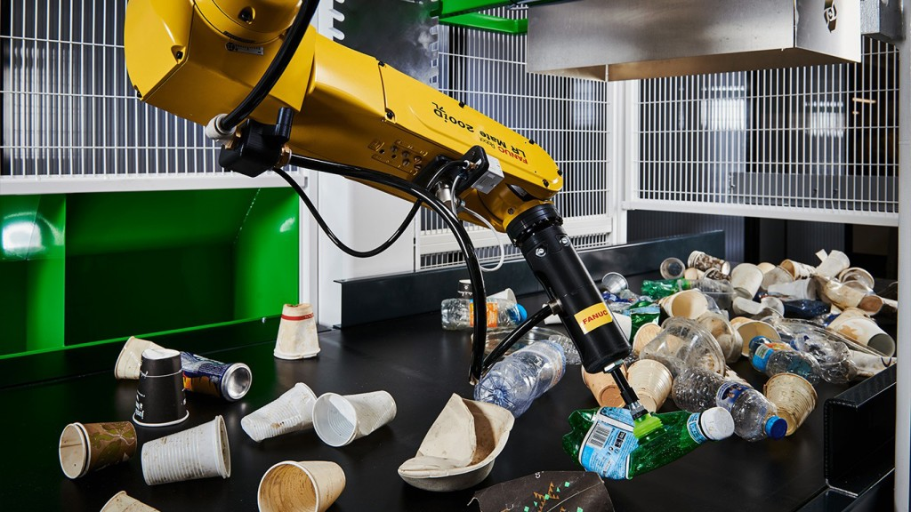 Recycleye AI-powered robotic waste-picking system at work