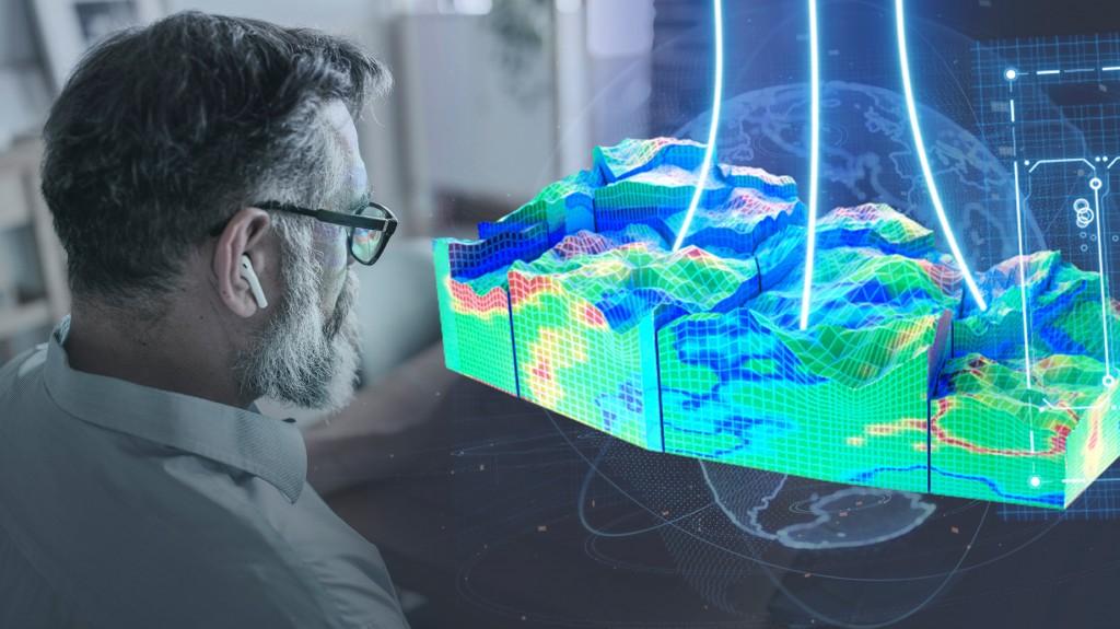 Man looks at Data platform hologram