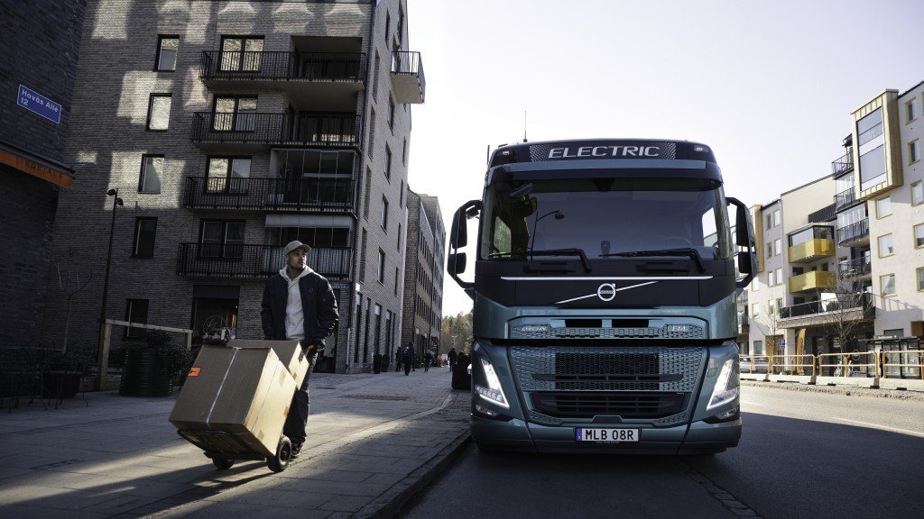 An electric Volvo Truck on a street