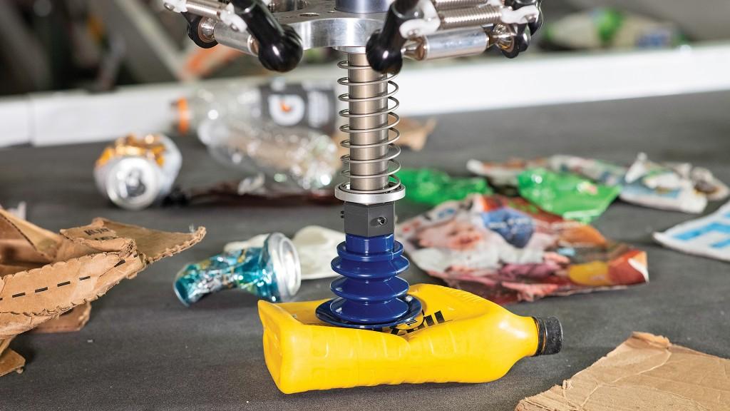 amp robotics robot over conveyor belt using chdpe gripper