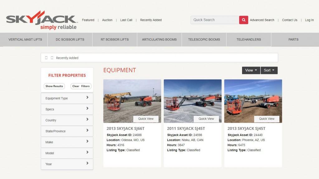 Skyjack introduces new used equipment auction platform