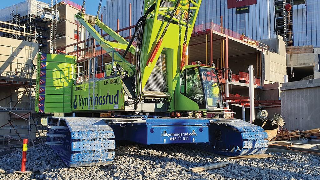 Liebherr battery-powered crawler crane on job site