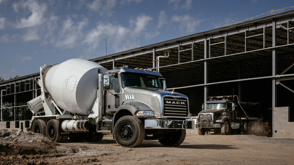 mack trucks mack granite and mack terrapro models at world of concrete 2021