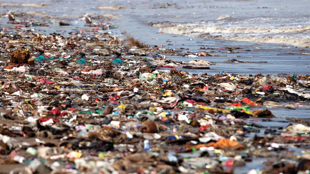 plastic polluted shoreline