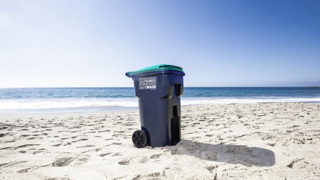 mermade recycling bin on a beach