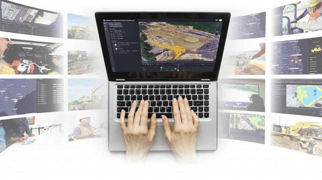 komatsu smart construction dashboard collage