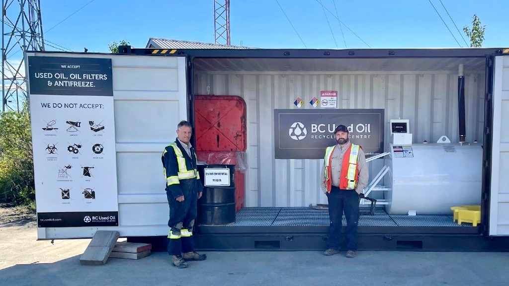Upgraded public recycling centres provides Fort St. John residents with easy, free and environmentally friendly facilities to recycle used oil and antifreeze materials.