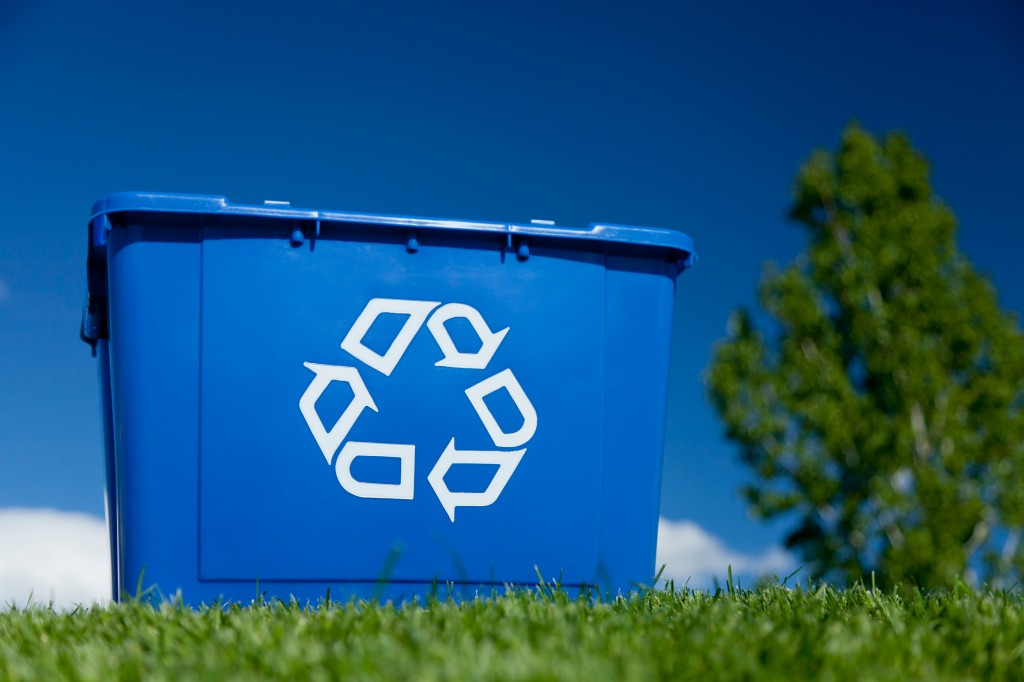 Blue box for recycling
