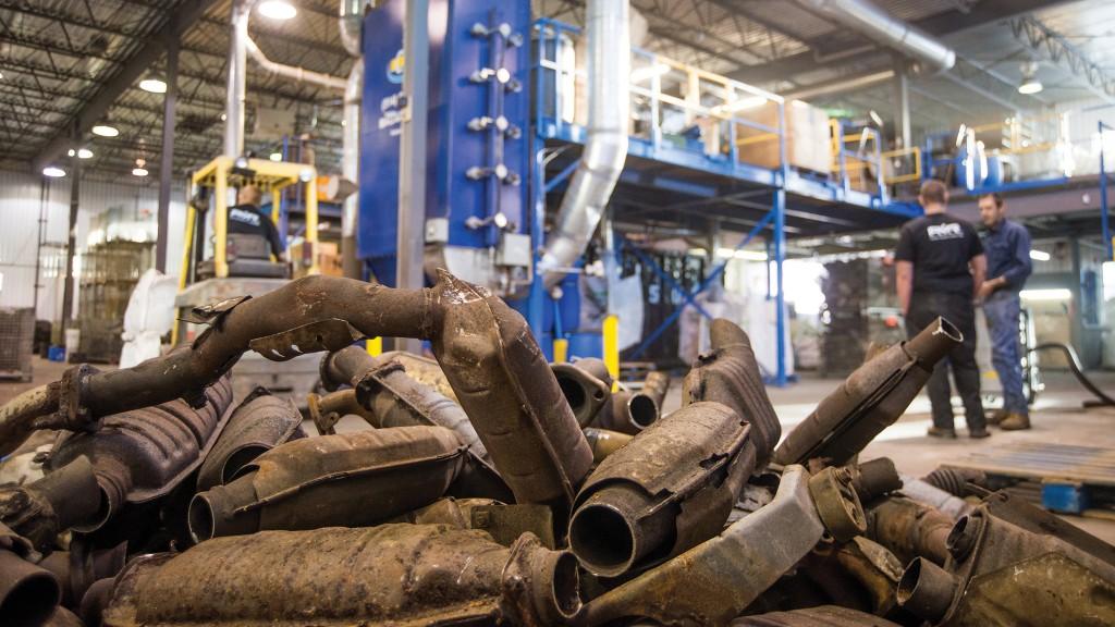 Recovered automotive catalytic converters contain precious metals including platinum, palladium and rhodium.