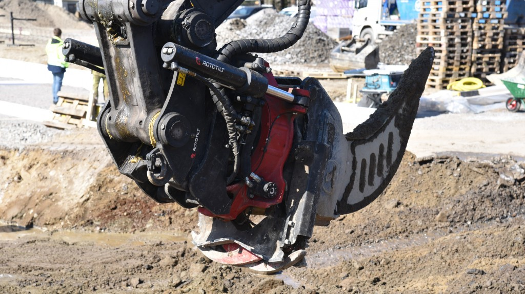 A Rototilt ripper attached to an excavator on the worksite