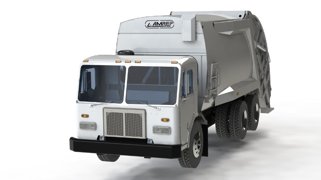 A new Amrep rear-loading refuse truck