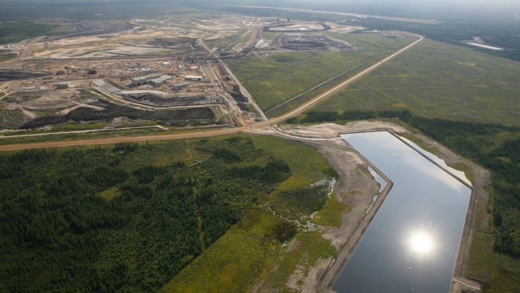 aerial of oil sands in alberta