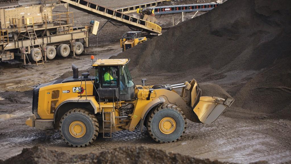Caterpillar 980 XE wheel loader operating in quarry