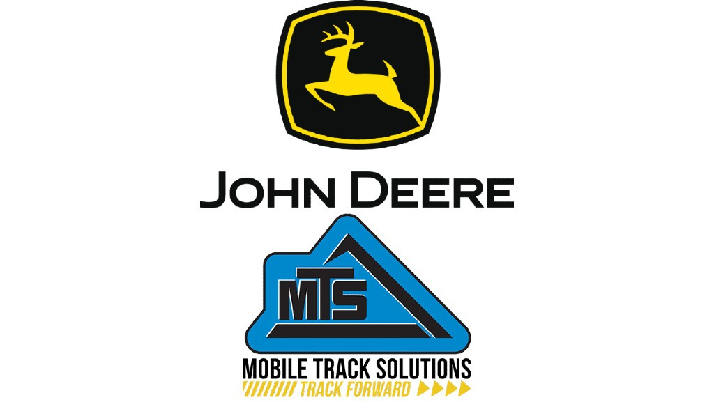 The John Deere and Mobile Track Solutions logos