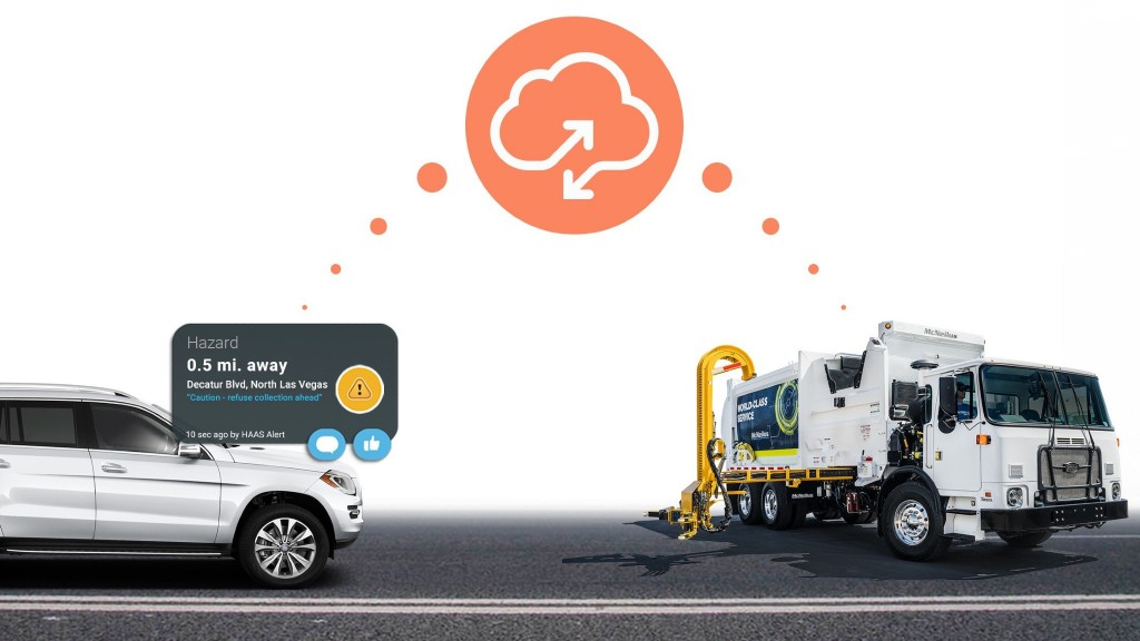 A Safety Cloud alert delivered to a driver and collection truck