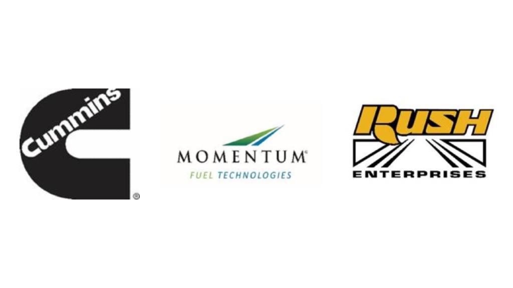 The Cummins, Rush Enterprises, and Momentum Fuel Technologies logos.