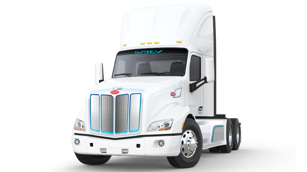 The Peterbilt 579EV on-highway truck