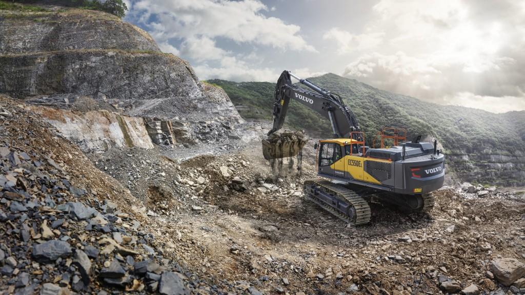 Volvo EC550E excavator on the job site