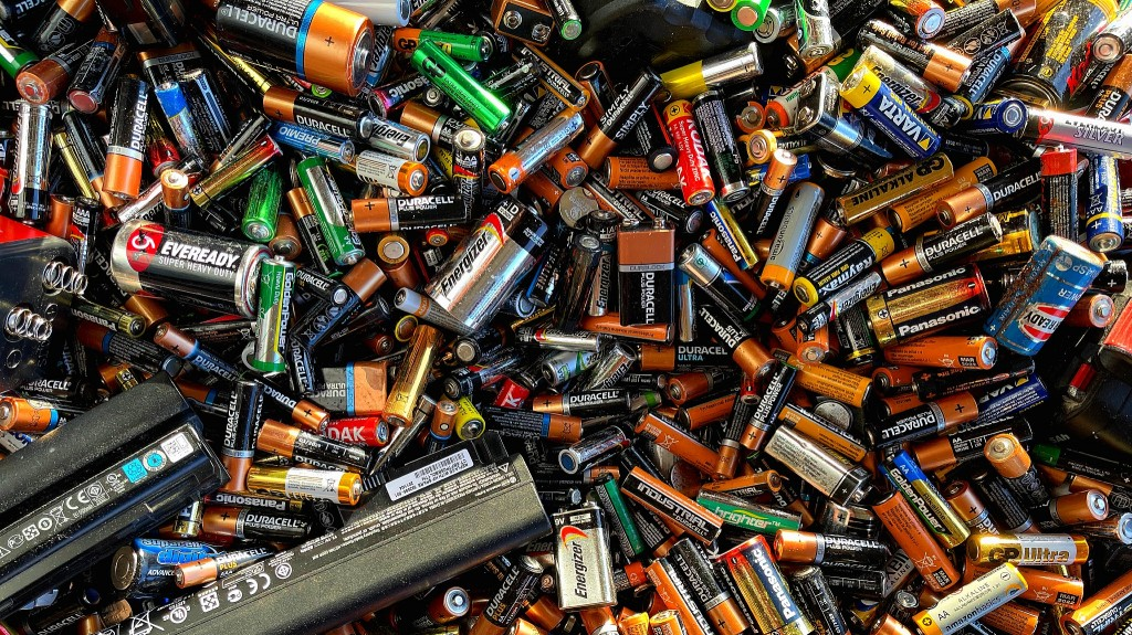 Batteries in a waste pile