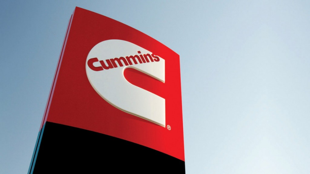 The Cummins logo on a large sign