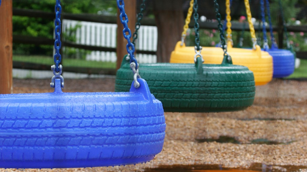 Tire swings on a playground