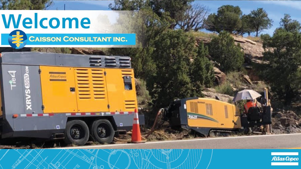 A designed graphic of Caisson Consultant joining Atlas Copco's dealers