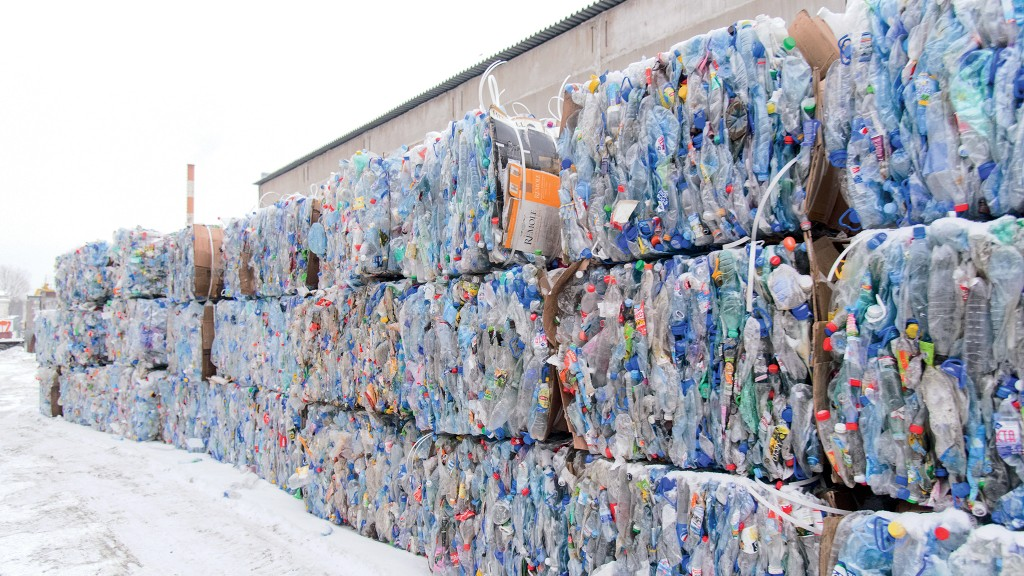 Bales of plastic stacked in a row