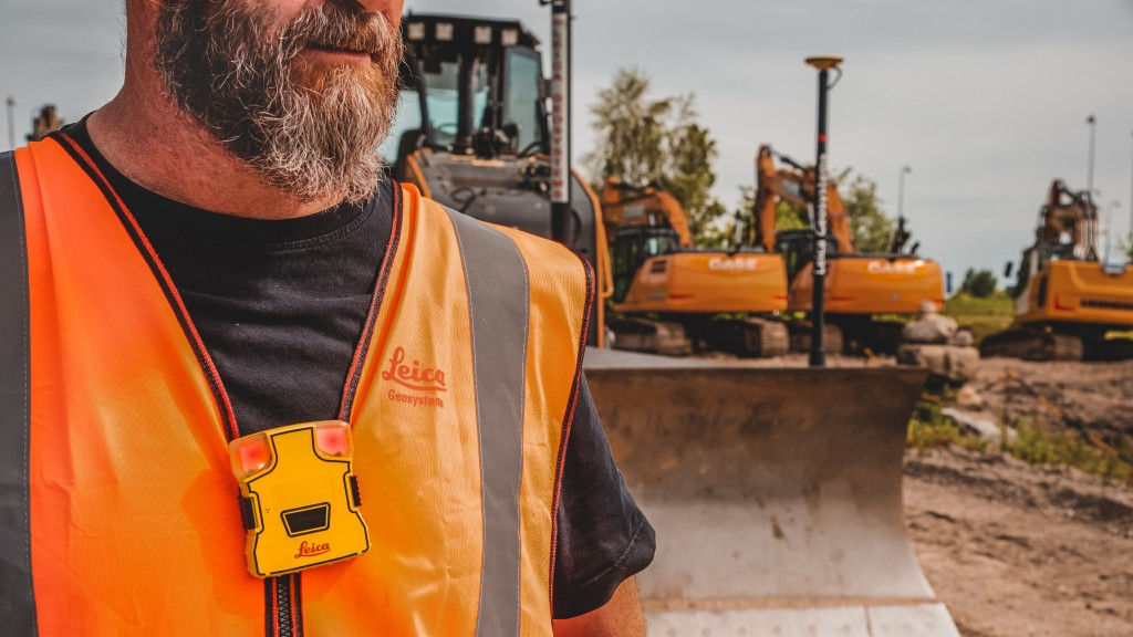 Leica Geosystems PA10 wearable tag on worker