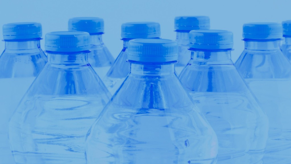 PET plastic bottles with a blue overlay