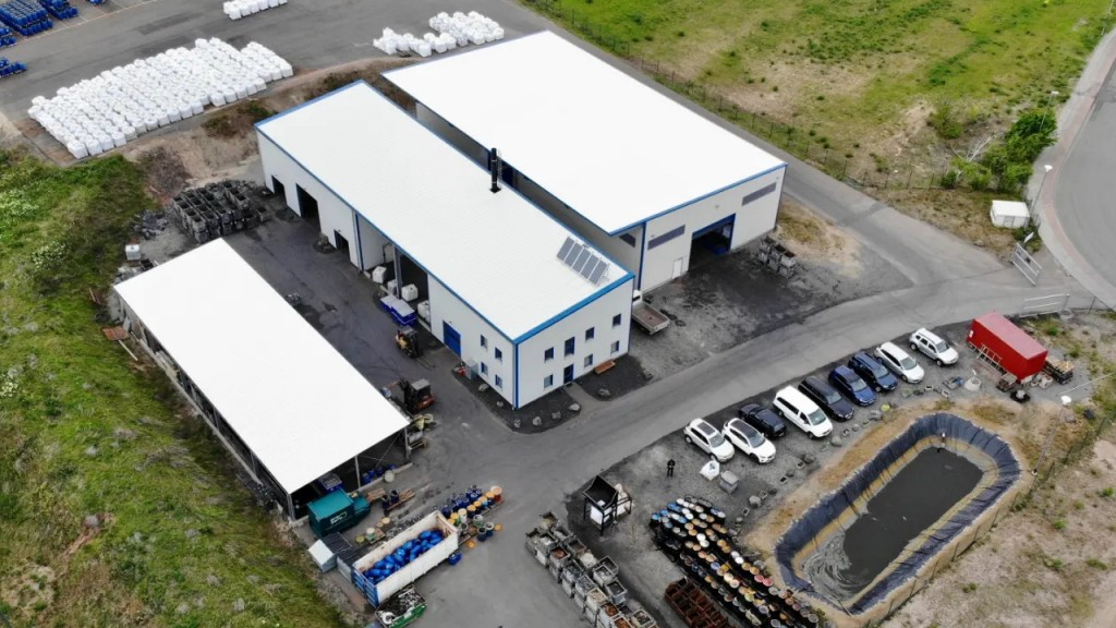 An aerial shot of a European battery recycling facility