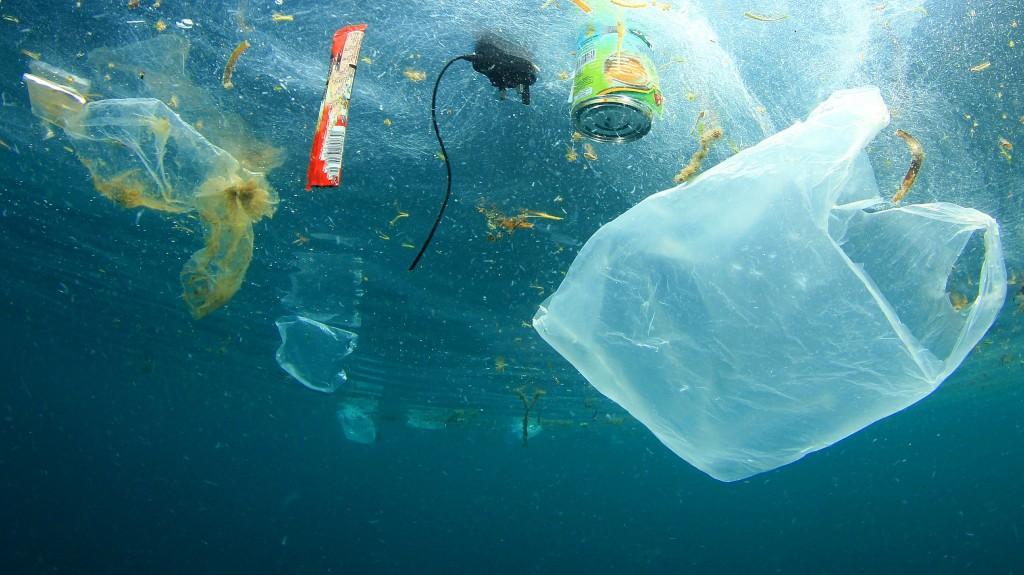 Plastics floating in the ocean