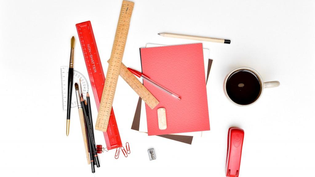Office supplies on a desktop