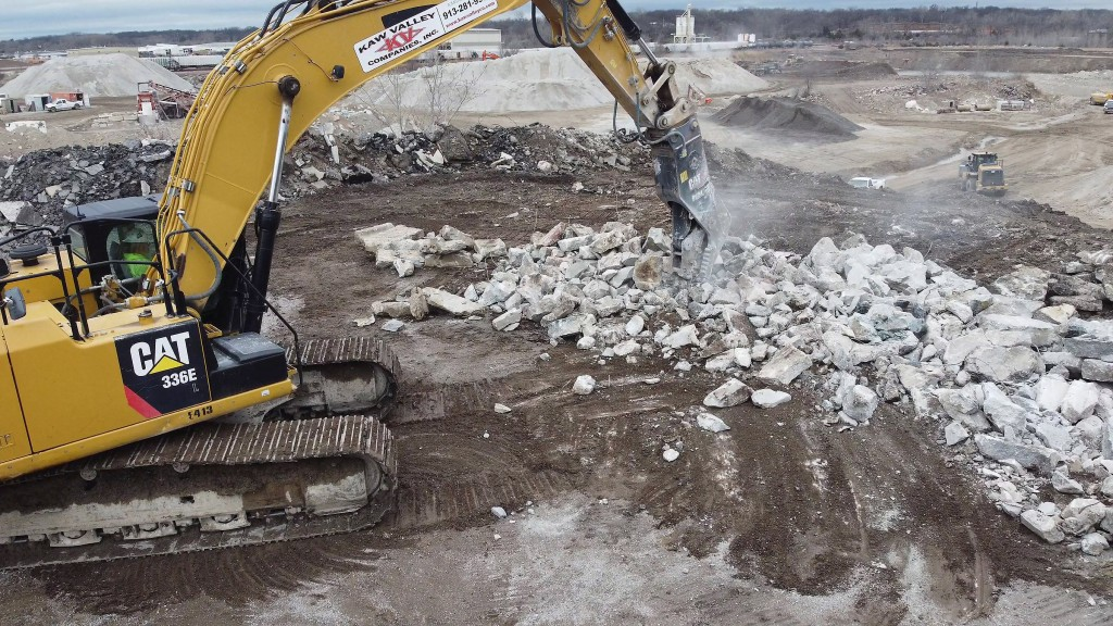 A pulverizer attatched to an excavator breaks rock.