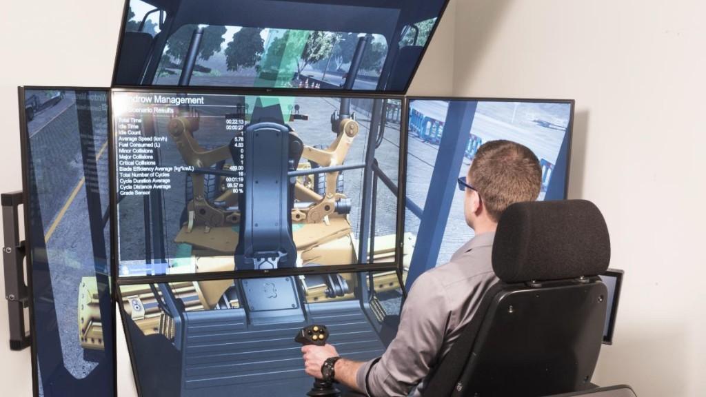 A trainee learns through a self-guiding simulator.