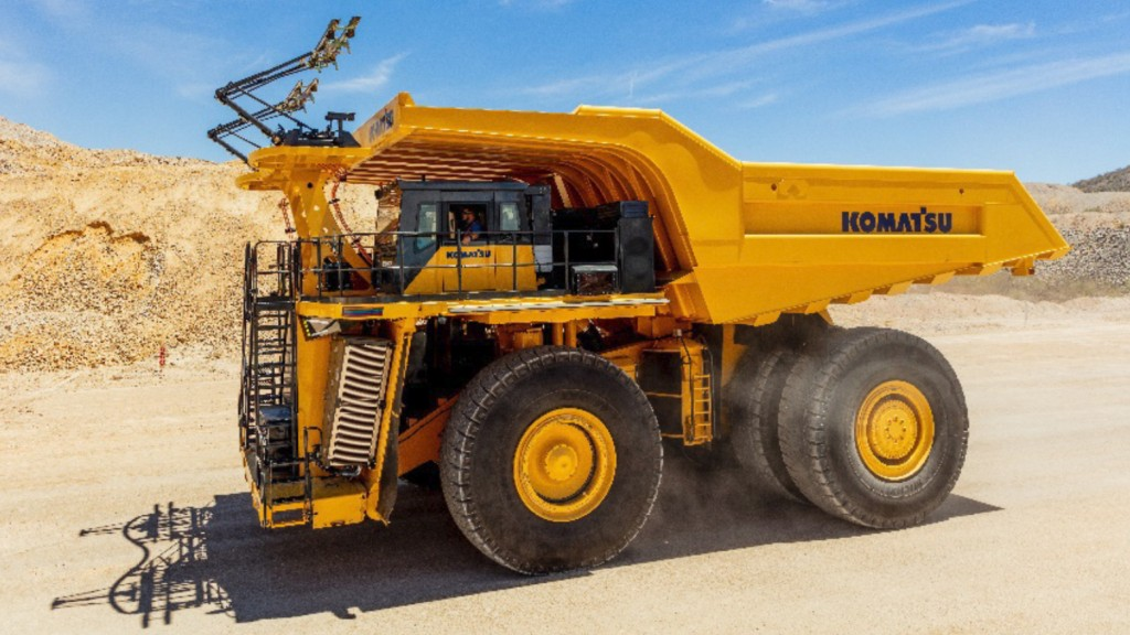 Komatsu's power agnostic development truck undergoes testing at a Komatsu facility in the United States.