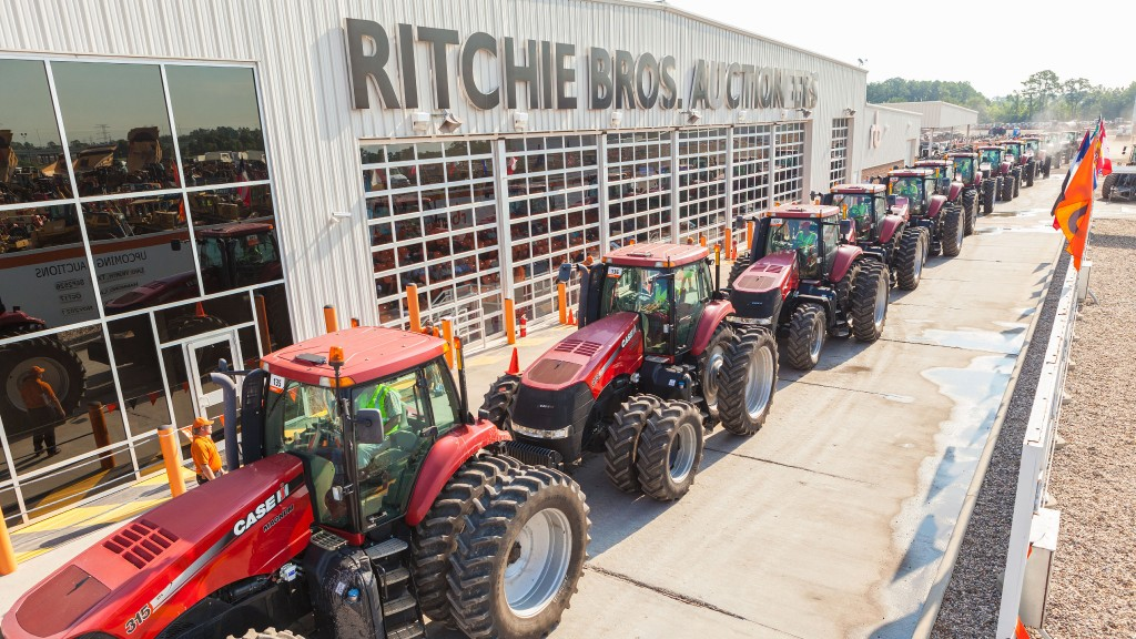 A Ritchie Bros. agricultural tractor auction in Texas.