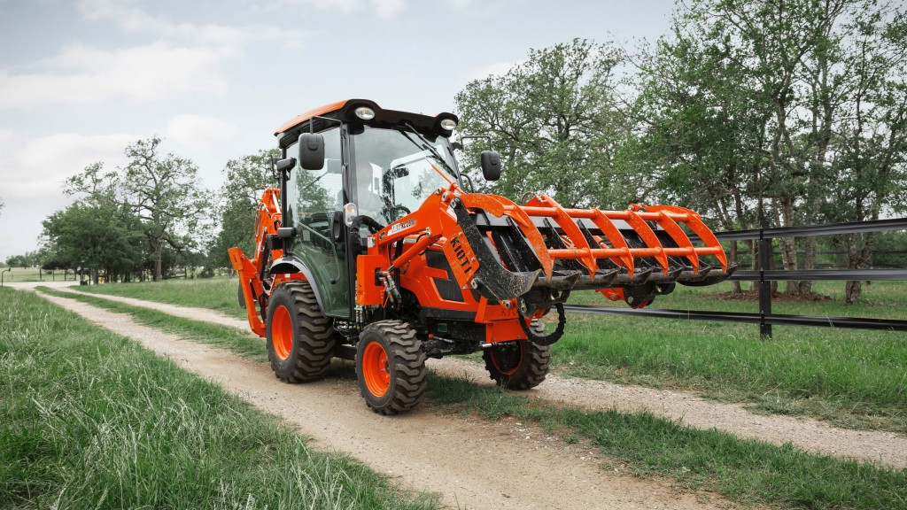 A KIOTI Tractor tractor cab on the farm.