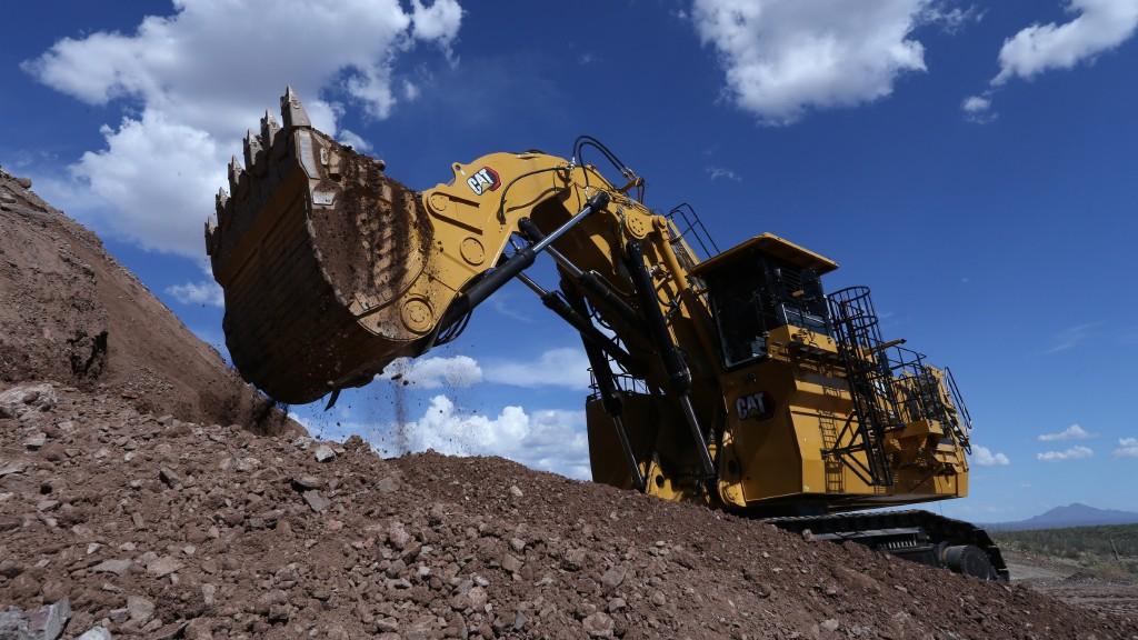 A hydraulic mining shovel on the job site