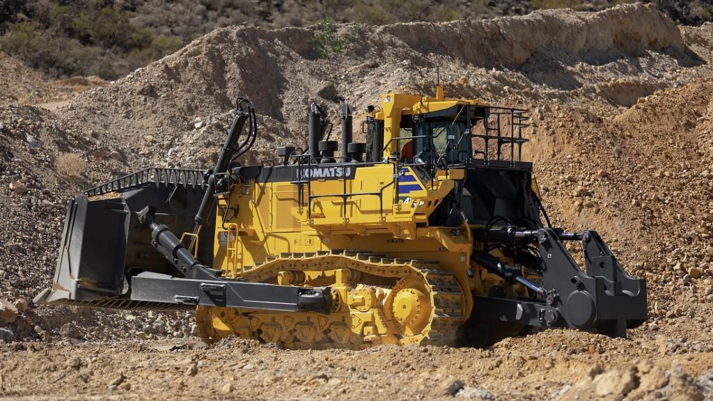 A Komatsu bulldozer on the job site