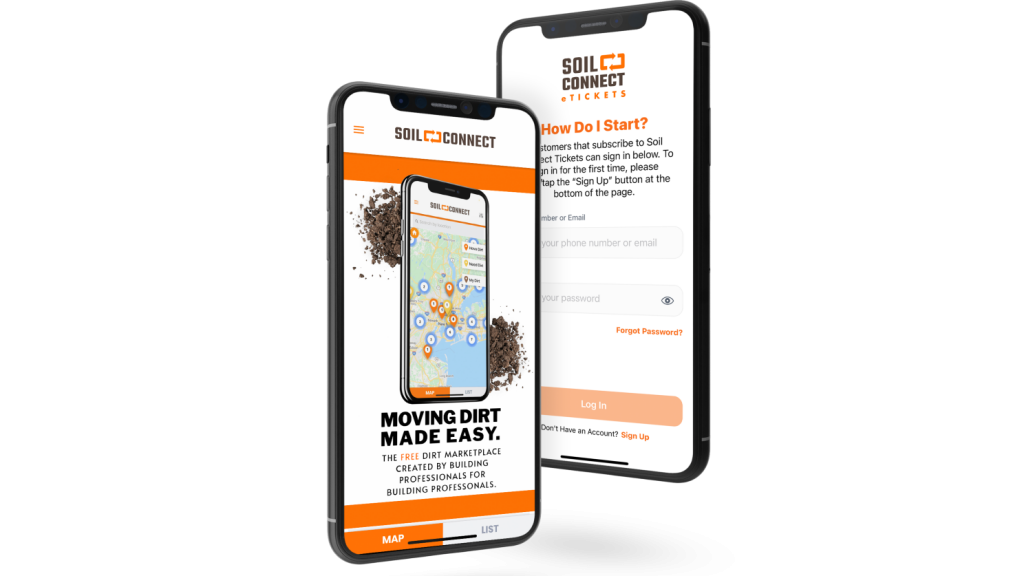 Two cell phones connected to Soil Connect's app