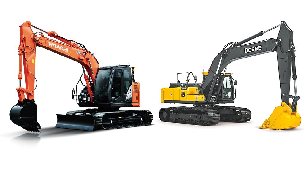 A John Deere and Hitachi excavator pasrked beside each other
